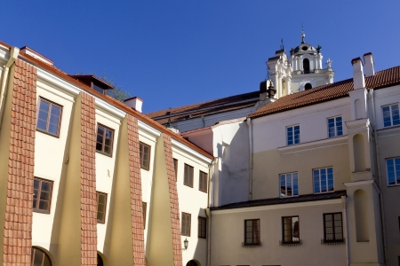 Red tile public domain roofs of the ancient European city history travel concept part 3. Sunny spring day photo
