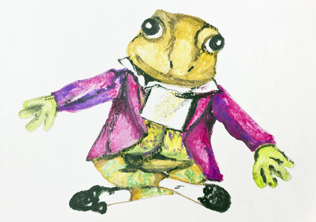 composer: Composer Mozart - a frog abstract concept. Handmade watercolor  painting illustration on a white paper art background