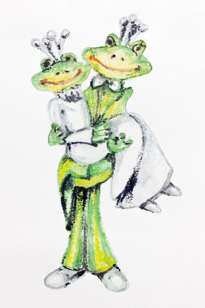 The happiest day in life of frogs is a wedding. Handmade watercolor  painting illustration on a white paper art background Stock Illustration - 24038716