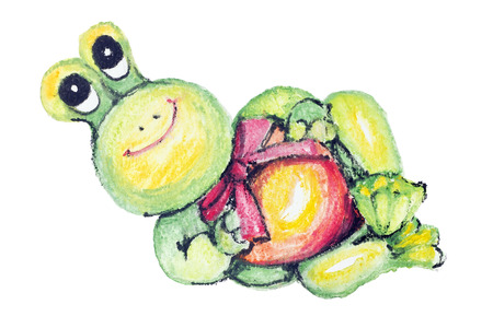 ridiculous: The gentle ridiculous smiling abstract Baby Frog isolated- handmade watercolor  painting illustration on a white paper art background