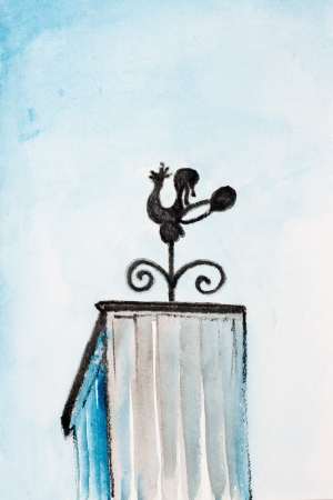 weathervane: Iron weathervane - cock on the pipe village house. Black blue watercolor painting illustration on a white paper art