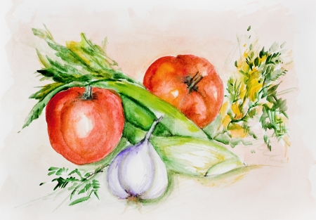 Fresh summer tomatoes and spicy greens-  handmade watercolor painting illustration on a white paper art background illustration