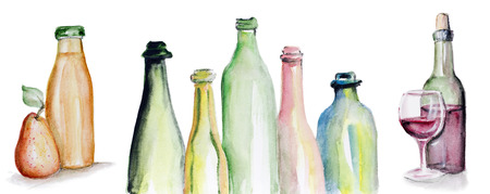 triptych: Art watercolor handmade  triptych - the Real Truth in Wine and Juice. Concept. Isolated