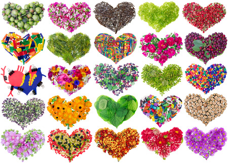 Nature real floral and fruits fantastic hearts isolated concept set collage photo