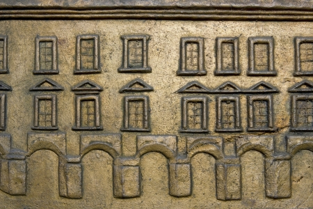 Abstract bronze  relief metal windows and walls background photo