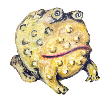 frog egg: Yellow frog toad - egg isolated,  handmade watercolor  painting illustration on a white paper art background