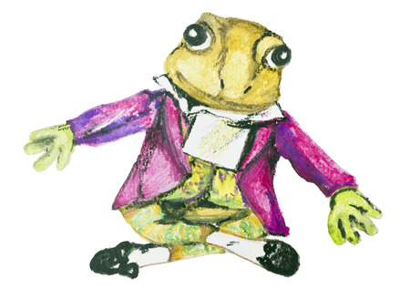 composer: Composer Mozart - a frog abstract isolated concept. Handmade watercolor  painting illustration on a white paper art background