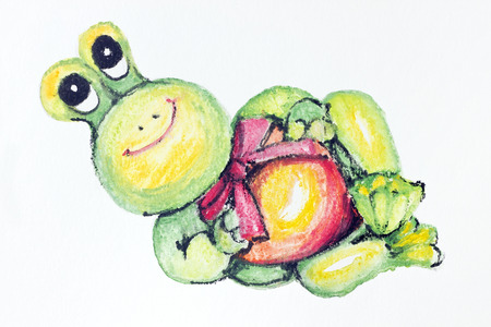 ridiculous: The gentle ridiculous smiling abstract Baby Frog- handmade watercolor  painting illustration on a white paper art background Stock Photo