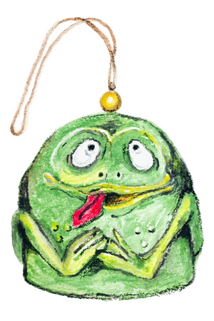 christmas frog: Toy - Christmas Psychedelic Green Frog concept isolated- handmade watercolor  painting illustration on a white paper art background