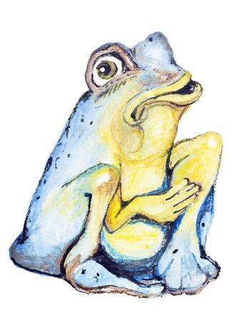blue frog: El pobre rana azul de suplica fr�as aisladas. Ejemplo de la pintura hecha a mano de acuarela sobre un papel blanco fondo de arte
