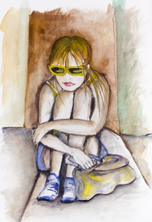 sad lonely girl: Teenager - a girl Maria in yellow glasses - so sad about your friends. Handmade watercolor painting illustration on a white paper art background