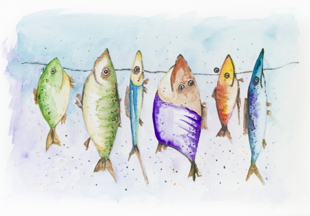 Funny fish - mackerel, sprat  and  scad, swim in the sea. Handmade watercolor painting illustration on a white paper art background  Standard-Bild