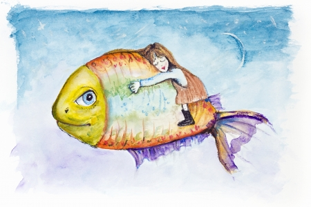 moon fish: Sweet night kids dreams on Moon Light Fish. Handmade watercolor painting illustration on a white paper art background  Stock Photo