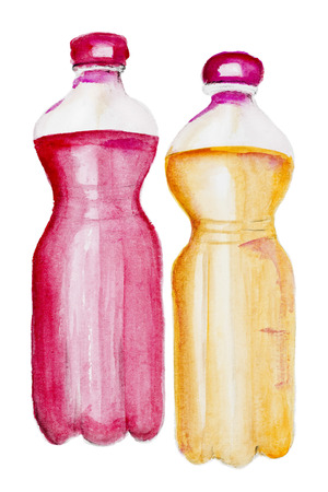 carbonated: Non carbonated lemonade with red and yellow syrup in plastic bottles concept. Watercolor handmade painted art image isolated