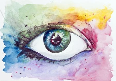 purple iris: Magic Space fantastic eye concept. Handmade watercolor painting illustration on a white paper art background  Stock Photo