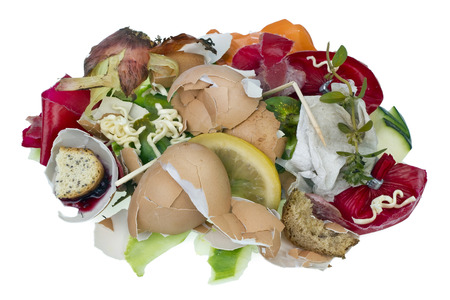 rotten fruit: Garbage dump food waste isolated concept