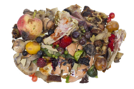 rotten fruit: Garbage dump rotten food waste isolated concept