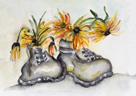 Alpine mountain old boots and yellow edelweiss flowers. Handmade watercolor painted art  photo