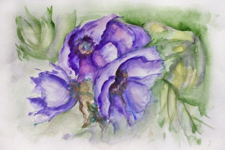 specific: Example image of blue terry tulip on the specific textured professional watercolor paper