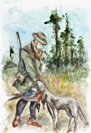 Successful hunting  Hunter thanked the dog for the bird  Watercolor handmade painting art  illustration Stock Photo