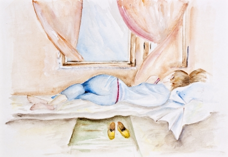 one sheet: Morning spring young breeze concept  Girl sleeping near an open window  Watercolor handmade painted art illustration