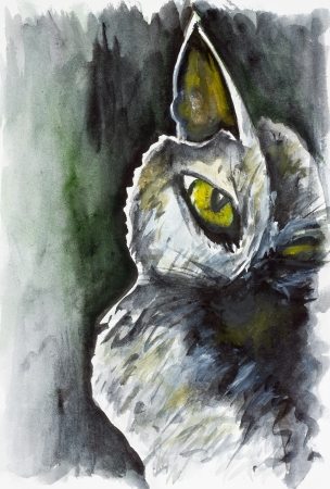 mammas: It is the soul of the black cat concept  Watercolor handmade painted art image