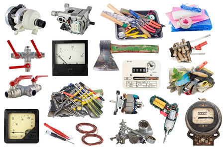 Used garden and home tools set collage isolated photo