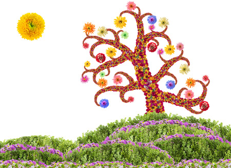 easter tree: Easter Tree  made from fresh flowers  concept. Isolated collage