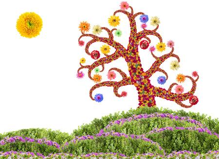 arbol de pascua: Árbol de Pascua hechos de fresco concepto flores. Collage aislada
