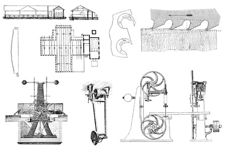 public domain: Vintage retro tools and equipment for processing of wooden objects. An engraving illustration from the public domain dictionary ( published in 1905). Isolated Stock Photo