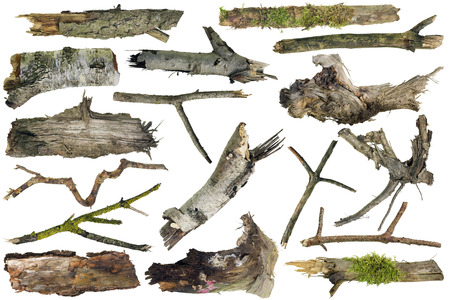 artifacts: Clumsy rough ugly forest wooden artifacts isolated collage