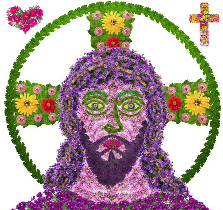 bible flower: Jesus Christ  child naive portrait is made of fresh summer flowers. Hope and love concept. Isolated collage