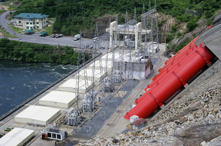 megawatts: AKOSOMBO GHANA  AUGUST 23 2014: The largest African hydroelectric power station on the Volta River. The station is constructed in 1965. Electric power is 1000 megawatts