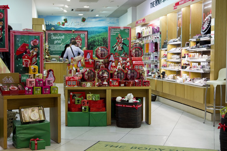 body shop: VILNIUS LITHUANIA  DECEMBER 21: Xmas The Body Shop  perfume store in  Panorama market on December 21 2013 in Vilnius Lithuania.  The Body Shop has more than 2500 stores in 60 countries worldwide.