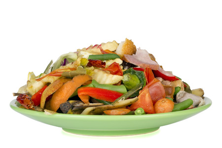 plate of food: Salad of food waste and garbage on a green plate. Food of the future macro concept. Isolated