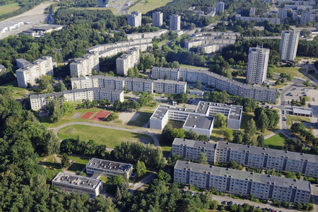 dormitory: Sleeping  dormitory old urban area of mass building in style of Soviet period. Sunny summer day- birds eye view