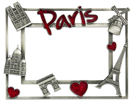 illustrative editorial: PARIS, FRANCE - SEPTEMBER 17: Metal photoframe souvenir from Paris illustrative editorial isolated with patch shot  in Paris on September 17, 2013. Eiffel Tower, Notre Dame, the Moulin Rouge and a red Valentine heart  symbols