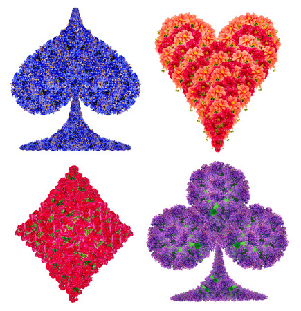 heart suite: Playing card abstract suit symbols set made from  red and blue flower. Handmade isolated collage