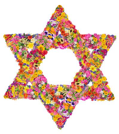 estrella de david: El símbolo del judaísmo - estrella de David. Iniciar sesión está hecha de brillantes flores de verano. Aislado artesanal collahe abstracta Foto de archivo