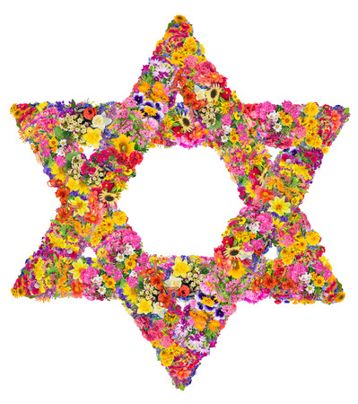 jewish background: The symbol of Judaism - David star. Sign is made from bright  summer flowers. Isolated abstract handmade collahe Stock Photo