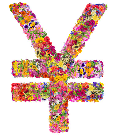 the strongest: Symbol of the second strongest world currency - China Yuan - made from flower, Isolated abstract collage