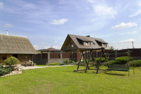 no name: Lawn for rest and a relaxation in the no name village summer landsckape