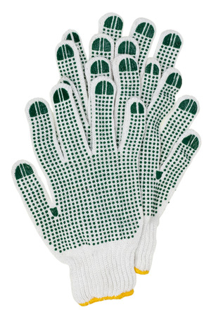 pimples: White working gloves with green rubber pimples. Isolated with patch