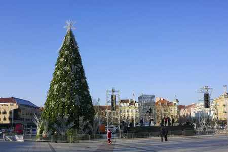 ceremonial: VILNIUS, LITHUANIA - NOVEMBER 29, 2014: Preparation of the Christmas fir-tree on a main square of the city for a ceremonial opening of New Years actions. Frosty sunny day