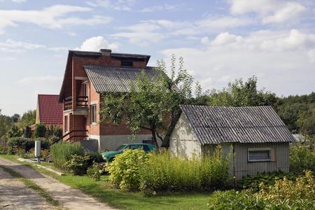 impoverished: Poor noname impoverished European village landscape. Sunny autumn day