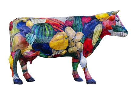 parch: MOSCOW, RUSSIA - SEPTENBER 15, 2014: Model of a cow- symbol of a traditional exhibition of agricultural and farmer production in city park Sokolniki. Isolated with parch