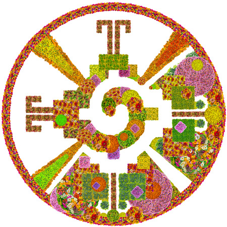 Heart Of The Galaxy Mayan Symbol For God Made From Summer Flowers