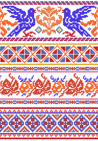 red cross red bird: National ancient Russian patterns for embroidery on festive shirts made from red and blue flowers. Abstract isolated handmade collage Stock Photo