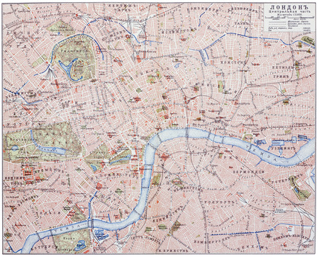 Old retro map of the central part of London. An engraving illustration from the public domain dictionary ( published in 1905). Isolated on white
