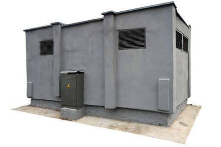 electricity substation: Concrete gray vintage transformer substation for electricity of the small city. Isolated with patch